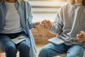 two people connecting at outpatient programs